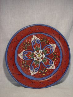 Norwegian Rosemaling: Red Plate (Rogaland Style)- Custom Order