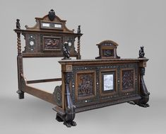 to) - Rare Neo-Renaissance style bed made out of carved walnut and ebony veneer with ivory inlays Japanese Style Bed, Antique Beds, Large Beds, Renaissance Fashion, Fireplace Accessories, Bedding Shop, Bed Styling, How To Make Bed, Making Out