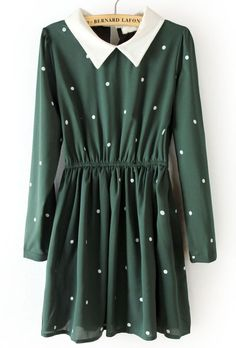 {green and white polka dot dress}