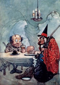 'The head of a tutor and the hair of governess.' The Witch and the Goblin Illustration from Dewdrops from Fairyland – Illustrated by A. Duncan Carse