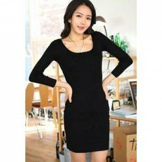 $7.15 Scoop Neck Cotton Blend Long Sleeves Lace Splicing Simple Style Dress For Women