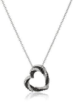 Sterling Silver Black and White Diamond Open Heart Pendant Necklace (1/5 cttw, J-K Color, I2-I3 Clarity) Amazon Collection http://smile.amazon.com/dp/B00HN31ZWO/ref=cm_sw_r_pi_dp_eMSQwb0VNCXX9