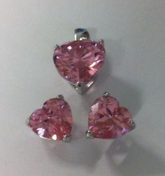 Cubic zirconia heart set 8mm earrings 10mm pendant silver pink bobin boutique