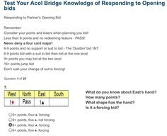 BIDDING - Test your ACOL Bridge Knowledge of Responding to Opening Bids: Question 1 of 20 (bridgequiz.co.uk)