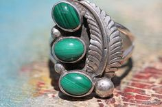 Vintage Signed Navajo Style Sterling Silver Malachite Ring -New Old Store Stock