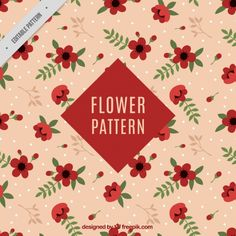 Flat decorative pattern of red flowers Free Vector