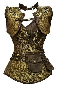 GE-265 Long Brown and Gold Brocade Pattern Steampunk Corset with Match...
