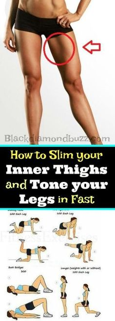 How to Slim your Inner Thighs and Tone your Legs in Fast in 30 days. These exercises will help you to get rid fat below body and burn the upper and inner thigh fat Fast. by eva.ritz #Sport