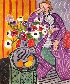 Purple Robe and Anemones by Henri Matisse | Lone Quixote | #HenriMatisse #matisse #expressionism #art #painting #fineart #flowers #portrait #purple