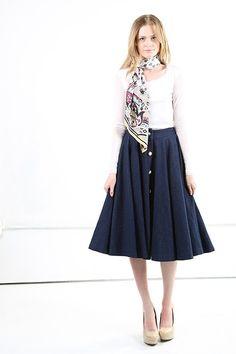 Skirt With Hidden Back Zip - Denim