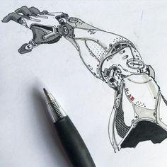 Fragments of a Hologram Dystopia - Roboterhand Arte Sci Fi, Sci Fi Art, Robot Concept Art, Armor Concept, Conception Robot, Art And Illustration, Arm Drawing, Figure Drawing, Drawing Ideas