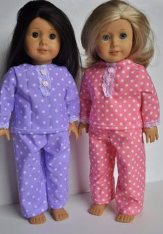 INRERESTING IDEA FOR USING LACE TO FREWTE A FRONT  PLACKTmerican Girl Clothes 18 inch doll Pajamas by littleashleighs, $10.50