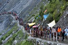 "Two people died and four were injured after a landslide triggered by flash floods hit the Amarnath yatra pilgrims near Brarimarg in Jammu and Kashmir today.Brarimarg falls on the Baltal route of the Amarnath yatra. ""A landslide hit between Railpatri. Amarnath Temple, Border Security Force, Festivals In August, Srinagar, Snowy Mountains, News India, Pilgrimage, Mount Everest, Pakistan"