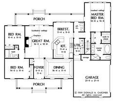 Country Style House Plan - 3 Beds 2.5 Baths 1882 Sq/Ft Plan #929-11 Floor Plan - Main Floor Plan - Houseplans.com