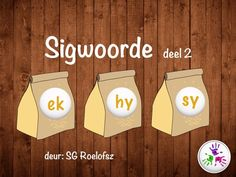 Sigwoorde deel 2: in die vorm van 'n legkaart.  Woorde in deel 2 sluit in: ek, hy, ons, jy, sy, julle, hulle, die, en, 'n, het, nie en van. Afrikaans, Special Education, Phonics, Alphabet, Homeschool, Foundation, Projects To Try, African Outfits, Teaching