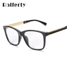 Ralferty monturas de gafas mujer hombre marco de las lentes para la miopía vew plica ojo gafas de espejo llano gafas de cristal negro de la vendimia