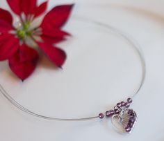 Violet heart necklace, hammered love, beads and wire, valentine's day gift, present from heart, gift for her, by DreamsSanctuary on Etsy