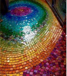 Multicolored mosaic tiles