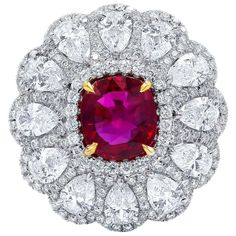 Natural Unheated Ruby and Diamond Ring For Sale