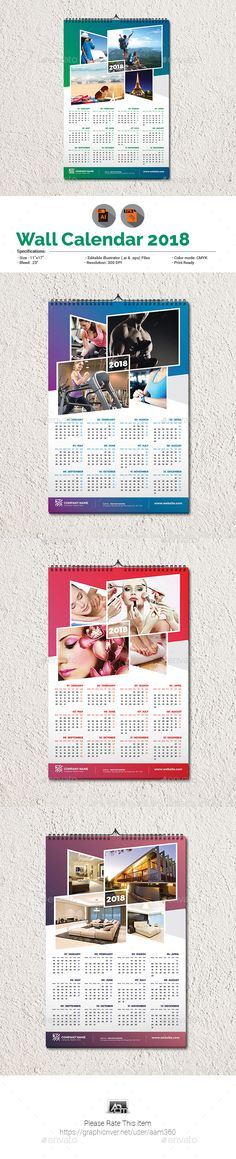 "INFORMATIONS FOR THIS CALENDAR TEMPLATE:FEATURES:Size: 11""x17""Bleed: .5""Four Color VariationsFully editable Illustrator AI & EPS f"