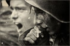 Soviet soldiers during the Battle of Kursk, 1943 (No more war!)