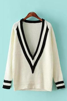 Deep V-neck Long Sleeves Loose Sweater