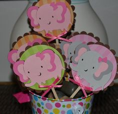 Girl Pink and Gray Elephant / Elephants Themed CupCake Toppers (Set of 12) All Colors can be changed