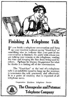 Finishing A Telephone Talk | vintage everyday: How to Use The Telephone, 1917-1919