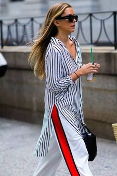 Striped pants are right on trend. Pair with a striped shirt for a fascinating outfit. | What to Wear to get Longer Looking Legs