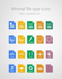 Beautiful Minimal File Type Icons PSD for Free Download - cssauthor.com