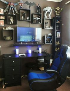 Video game room design gaming room decor gamer room decor interior cool game room stuff best gamer ideas on stunning gaming room Computer Gaming Room, Gaming Room Setup, Computer Room Decor, Pc Setup, Desk Setup, Gaming Chair, Computer Diy, Computer Setup, Office Setup
