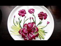 Purple Onion Lotus Flower Cutting Garnish - Vegetable Decoration - YouTube Salad Decoration Ideas, Vegetable Decoration, Fruit Decorations, Onion Flower, Lotus Flower, Creative Food Art, Food Carving, Food Garnishes, Flower Plates