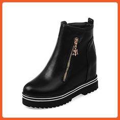 Women's Solid Blend Materials Kitten Heels Round Closed Toe Zipper Boots Black 39