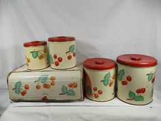 1950s Vintage Decoware Red Cherries Metal Bread Box Canisters Kitchen Set | eBay Vintage Canister Sets, Vintage Bowls, Vintage Kitchenware, Vintage Tins, Vintage Dishes, Diner Kitchen, Kitchen Sets, Kitchen Stuff, Vintage Kitchen Accessories