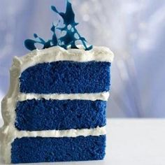 Blue Velvet Cake~This one comes from the Food Network.Duff from Ace of Cakes was on a Paula Deen show.Overall a quality cake that tastes just like it came from the bakery.