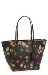 COACH 'Taxi' Floral Print Leather Tote
