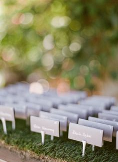 escort card display with golf tees and fresh grass Photography by leilabrewsterphotography.com, Florals by http://www.arrangementsdesign.com Read more - http://www.stylemepretty.com/2013/09/24/palm-springs-estate-wedding-from-leila-brewster/