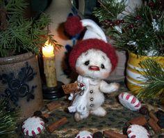 "Primitive Patti's Ratties 5"" Snowman Doll Snowflake Frosty Winter Bear Artist"