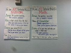 ACES constructed responses for math and reading Math Anchor Charts, Reading Anchor Charts, Constructed Response, Math Blocks, Math Coach, Math Writing, Math Assessment, Math Strategies, Math Test