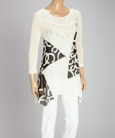 Loving this Cream & Caramel Lace Swirl Linen-Blend Three-Quarter Sleeve Top on #zulily! #zulilyfinds