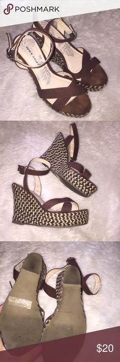 Wet Deal Wedges Woven materials covering the wedge, called espadrilles, cute cross cross design and extremely flattering brown looks cute with any summer dress. 4 inches tall   ⭐️🌟⭐️🌟⭐️Feel free to bundle for huge discounts. A bundle is 2+ items 👌🏻4.9 overall rating, suggested user & ships within 24 hours M-F ! Wet Seal Shoes Espadrilles