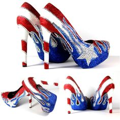 Puerto Rican Flag Heels With Crystals and Glitter ($175) ❤ liked on Polyvore featuring shoes, pumps, silver, women's shoes, ombre shoes, silver glitter shoes, star shoes, silver shoes and silver pumps