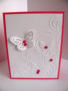Embossed Butterflies White Linen Card with Large Monarch Butterfly and Faux Pearls - YOUR Choice of Colour - A2 Size. $3.75, via Etsy.