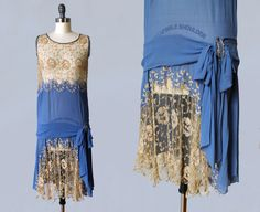 1920s Dress / 20s Embroidered Net Lace and par GuermantesVintage