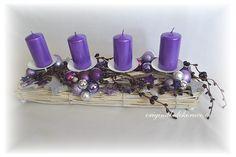 Adventní, vánoční svícen, podlouhlý, ratan - fialový