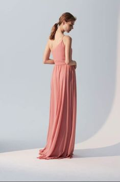 Captivating in flowing chiffon, this one-shoulder bridesmaid dress is accented with delicate ruching and tied at the waist above an airy skirt. One-shoulder bridesmaid dress Amsale Bridesmaid, Tea Length Bridesmaid Dresses, One Shoulder Bridesmaid Dresses, Wedding Dresses, Bridesmaids, Prom Dresses, Convertible Dress, Infinity Dress, Special Occasion Dresses