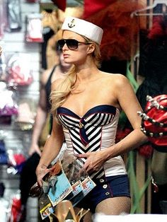 Paris Hilton as Sexy Vintage / Retro Pin-up Sailor ~ Celebrity Halloween Costume