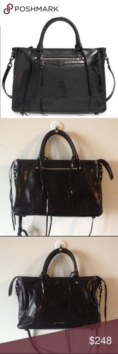 Rebecca Minkoff Black Regan Satchel Bag Purse This is a gorgeous black patent leather bag in excellent condition inside and out.  It has a zip top and detachable long strap. Looks amazing and gets lots of compliments! Rebecca Minkoff Bags