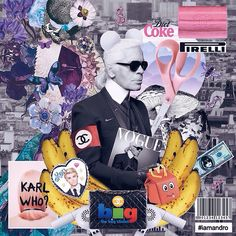 """Karl Otto Lagerfeld o The King Of CHANEL ✂️✨ - #iamandro #karl #karllagerfeld #banana #art #sissor #colors #pirelli #butterfly #designer #texture #collageart #collagecollectiveco #chanel #vogue #artist #roses #karlwho #ken #barbie #diet #moschino #annawintor #nike #gum #bigchannel #dollar #fashion #mickeymouse #pink"" Photo taken by @iamandro on Instagram"
