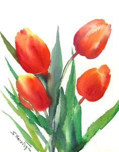 Red orange Tulips, original large watercolor painting, 10 x 8 in, yred orange watercolor painting, flowers garden painting by ORIGINALONLY on Etsy